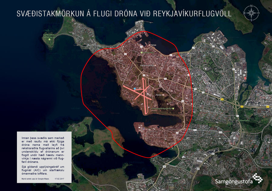 Here Is A Map Showing The Boundaries Of Keflavik International Airport And Reykjavik Airport